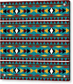 Navajo Teal Pattern Acrylic Print by Christina Rollo