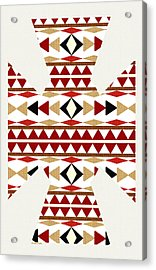 Navajo White Pattern Art Acrylic Print by Christina Rollo