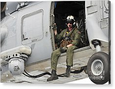 Naval Aircrewman Acts In An Sh-60b Sea Acrylic Print by Stocktrek Images