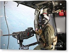 Naval Aircrewman Mans A .50-caliber Acrylic Print by Stocktrek Images