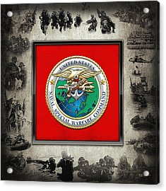 Naval Special Warfare Command - N S W C - Emblem  Over Navy Seals Collage Acrylic Print