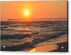 Navarre Beach And Pier Sunset Colors With Birds And Waves Acrylic Print by Jeff at JSJ Photography
