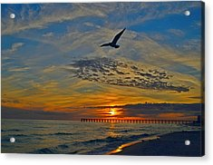 Acrylic Print featuring the photograph Navarre Beach And Pier Sunset Colors With Gulls And Waves by Jeff at JSJ Photography