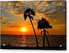 Navarre Beach Bridge Sunrise Palms Acrylic Print by Jeff at JSJ Photography