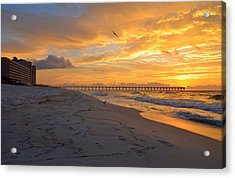 Navarre Pier And Navarre Beach Skyline At Sunrise With Gulls Acrylic Print by Jeff at JSJ Photography
