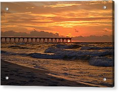 Navarre Pier At Sunrise With Waves Acrylic Print by Jeff at JSJ Photography