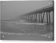 Navarre Pier Disappears In The Bw Fog Acrylic Print by Jeff at JSJ Photography