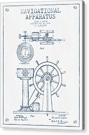 Navigational Apparatus Patent Drawing From 1920  -  Blue Ink Acrylic Print