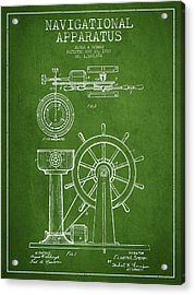 Navigational Apparatus Patent Drawing From 1920 - Green Acrylic Print