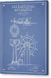 Navigational Apparatus Patent Drawing From 1920 - Light Blue Acrylic Print