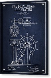 Navigational Apparatus Patent Drawing From 1920 - Navy Blue Acrylic Print