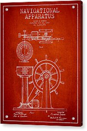 Navigational Apparatus Patent Drawing From 1920 - Red Acrylic Print