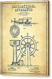 Navigational Apparatus Patent Drawing From 1920 - Vintage Acrylic Print