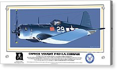 Navy Corsair 29 On Blue Acrylic Print