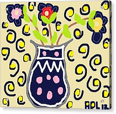 Acrylic Print featuring the painting Navy Flowers In A Vaz by Anita Dale Livaditis