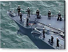 Navy Sailors On The Bow Acrylic Print by Wernher Krutein