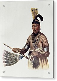 Naw-kaw Or Wood, A Winnebago Chief, Illustration From The Indian Tribes Of North America, Vol.1 Acrylic Print