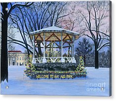 Nay Aug Park Holiday Lights Acrylic Print by Austin Burke