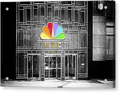 Nbc Facade Selective Coloring Acrylic Print by Thomas Woolworth