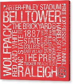 Nc State College Colors Subway Art Acrylic Print by Replay Photos