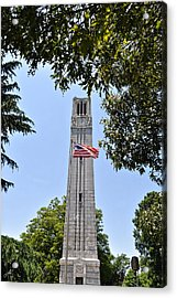 Nc State Memorial Bell Tower And Us Flag Acrylic Print