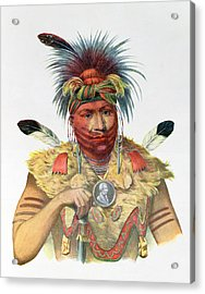 Ne-sou-a-quoit, A Fox Chief, Illustration From The Indian Tribes Of North America, By Thomas L Acrylic Print by Charles Bird King