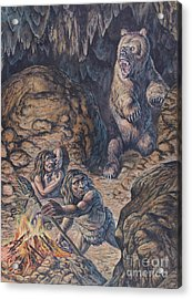 Neanderthal Humans Confronted By A Cave Acrylic Print by Mark Hallett