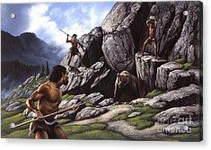 Neanderthals Hunt A Cave Bear Acrylic Print by Jerry LoFaro