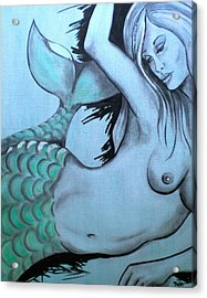 Nearly Naked Sea Pearl Green Acrylic Print by Debi Starr