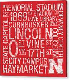 Nebraska College Colors Subway Art Acrylic Print by Replay Photos