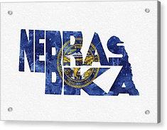 Nebraska Typographic Map Flag Acrylic Print by Ayse Deniz