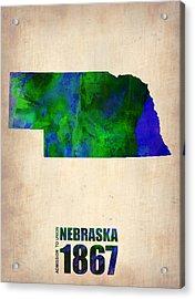 Nebraska Watercolor Map Acrylic Print by Naxart Studio