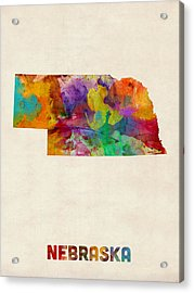Nebraska Watercolor Map Acrylic Print by Michael Tompsett