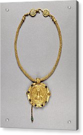 Necklace With Pendant Unknown Roman Empire 250 - 400 Gold Acrylic Print by Litz Collection