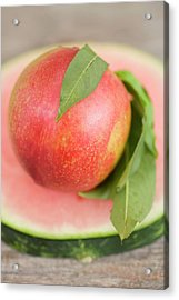 Nectarine With Leaves On Slice Of Watermelon Acrylic Print