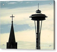 Acrylic Print featuring the photograph Seattle Washington Space  Needle Steeple And Cross by Michael Hoard