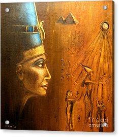 Acrylic Print featuring the painting Nefertiti by Arturas Slapsys
