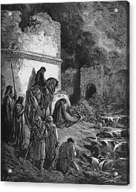 Nehemiah Views The Ruins Of Jerusalem Walls Acrylic Print by Oprea Nicolae