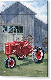 Neighbor Don's Farmall Acrylic Print by Marsha Elliott