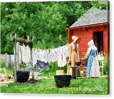 Neighbors Gossiping On Washday Acrylic Print by Susan Savad