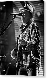 Neil Young Singing And Playing Guitar In Black And White Acrylic Print