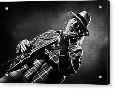Neil Young On Guitar In Black And White  Acrylic Print