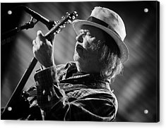 Neil Young In Black And White 2 Acrylic Print by Jennifer Rondinelli Reilly - Fine Art Photography