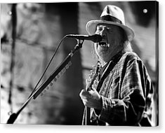Neil Young Performing At Farm Aid In Black And White Acrylic Print by Jennifer Rondinelli Reilly - Fine Art Photography