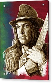 Neil Young - Stylised Pop Art Drawing Portrait Poster  Acrylic Print by Kim Wang