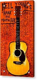 Neil Youngs Hank Martin Guitar Acrylic Print by Karl Haglund