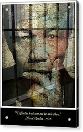 Nelson Mandela - Difficulties Acrylic Print by Lynda Payton