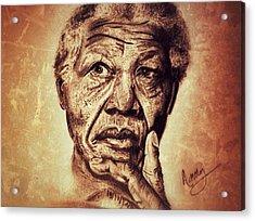 Nelson Mandela  Acrylic Print by Leanne Lewis