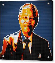 Nelson Mandela Lego Pop Art Acrylic Print by Georgeta Blanaru
