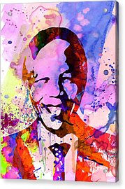 Nelson Mandela Watercolor Acrylic Print by Naxart Studio